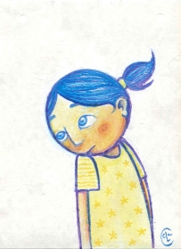 BLUE RASCAL (watercolors + pastels, 21x16)
