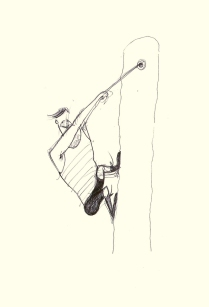 EXERCICER CLIMBING (black pen, 15x15)