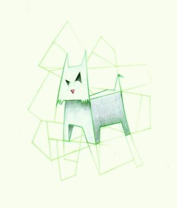 FOLDING DOG (pastels, 21x21)
