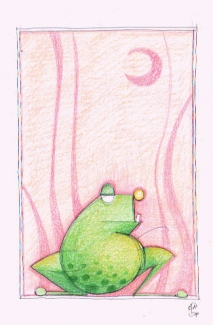 FROG 2 (pastels+black pen, 10x20)
