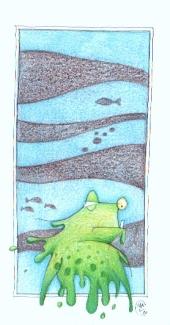 FROG 3 (pastels+black pen, 10x20)