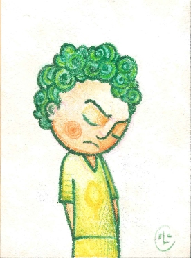 GREEN RASCAL (watercolors + pastels, 21x16)