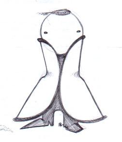 SPACE CREATURE 2 (black pen, 10x10)